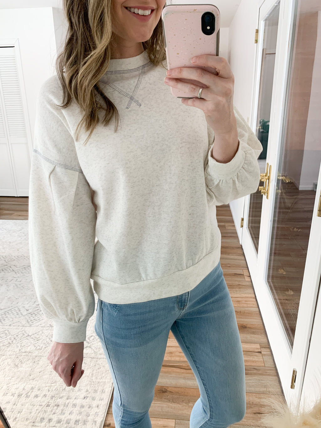 Oatmeal Balloon Sleeve Sweatshirt