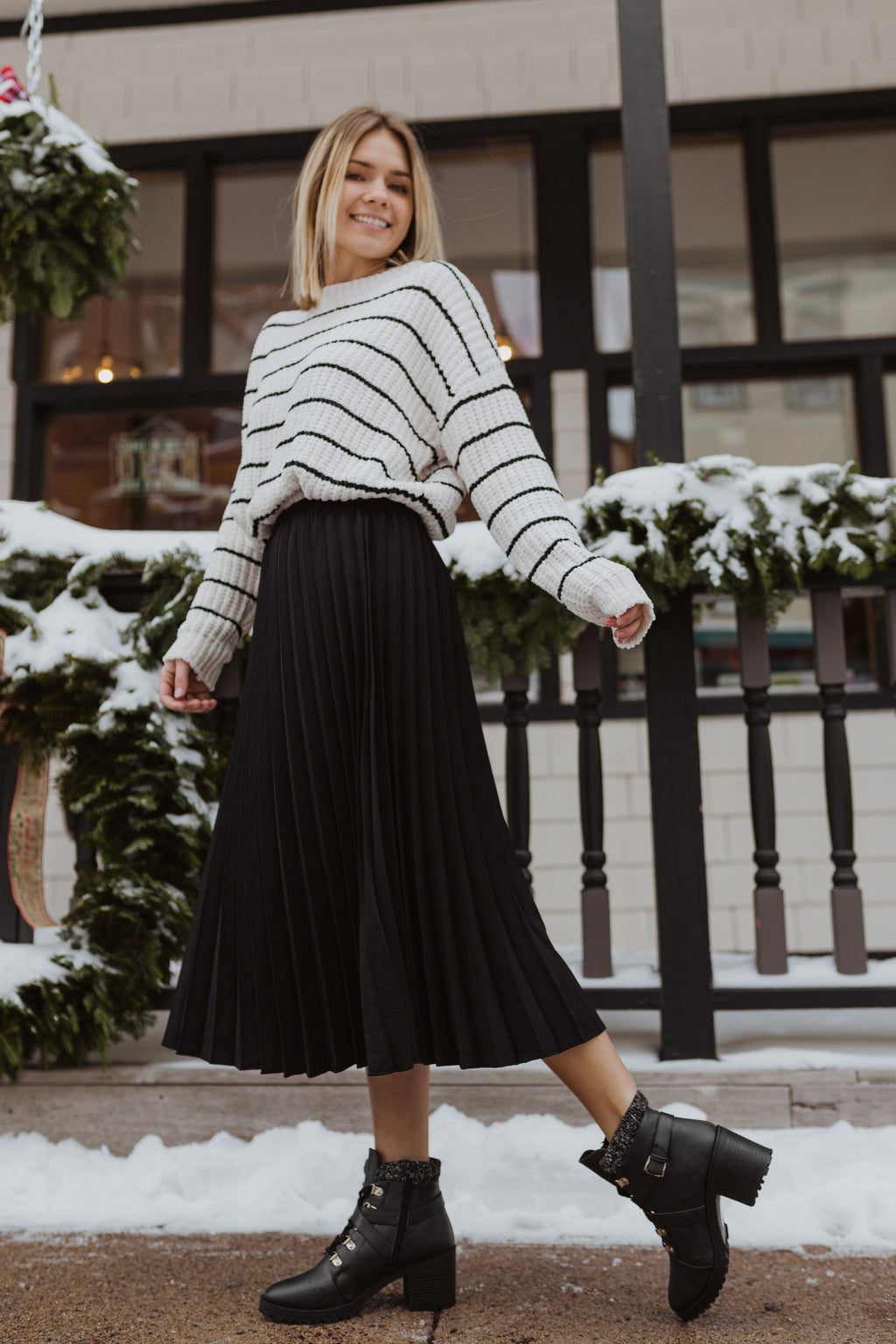 The Elizabeth Pleated Midi in Black