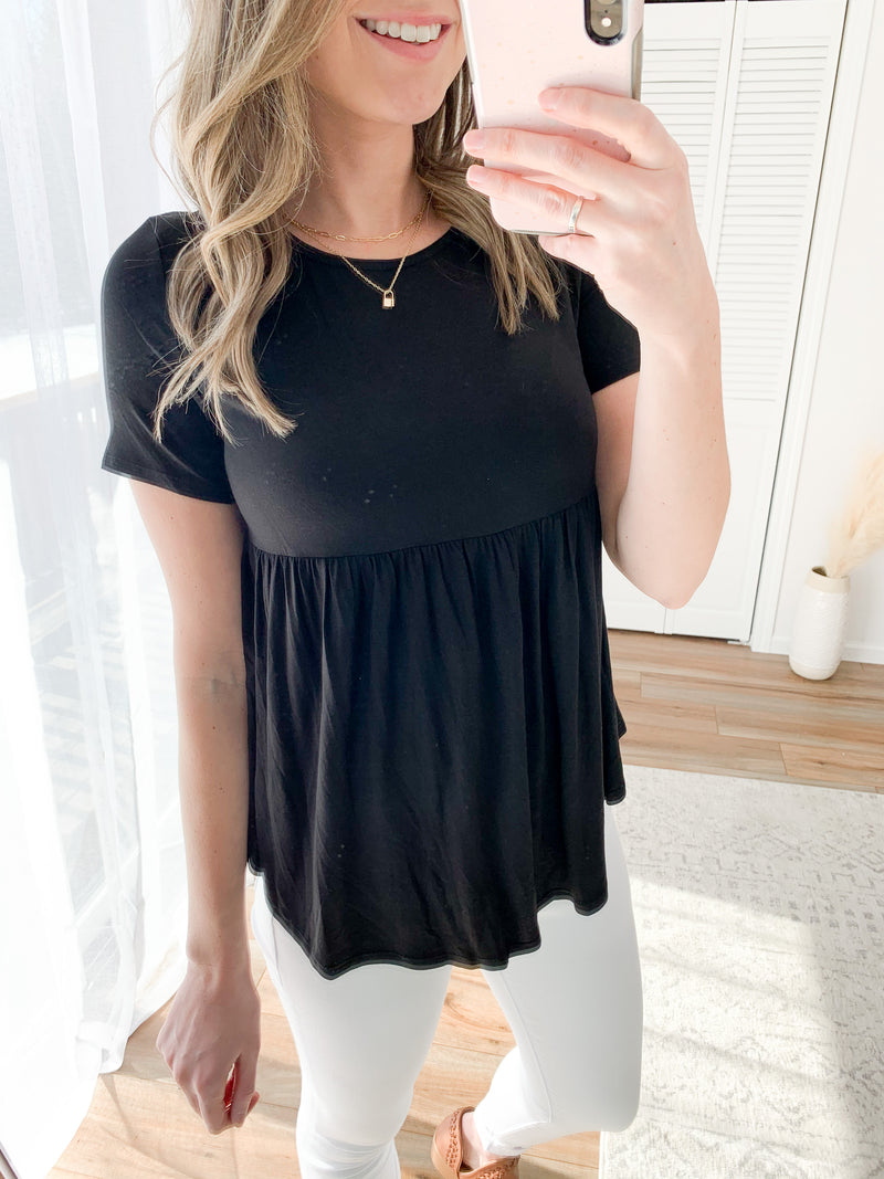 The Millie Babydoll Top in Black