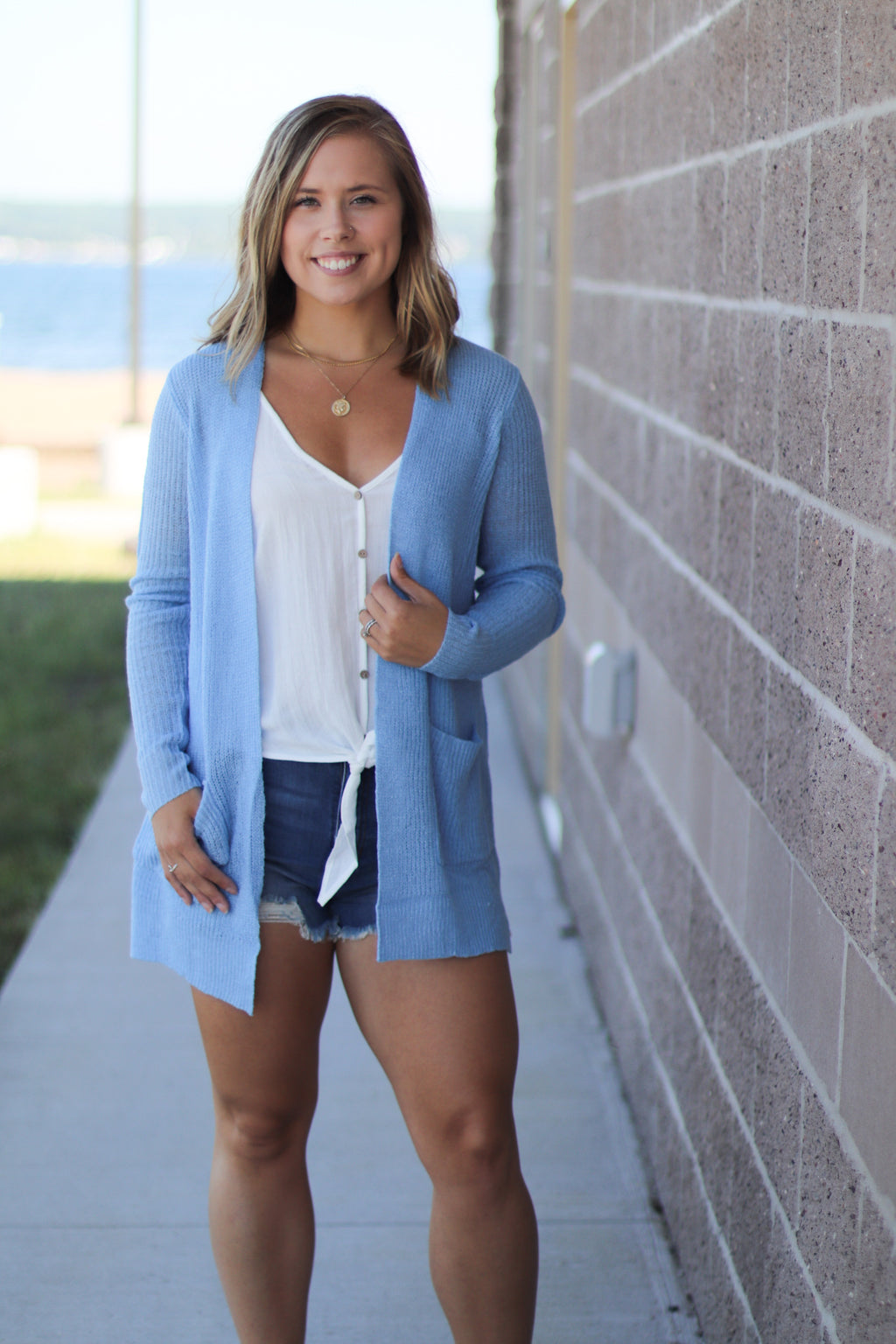 Light Blue Open Knit Cardigan