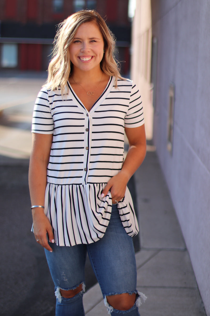 The Chelsea Striped Peplum Top