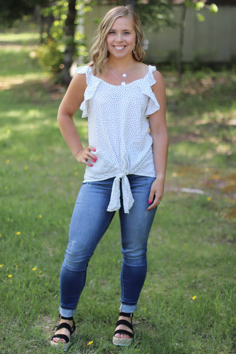 The Maria Dottie Tie Front Tank
