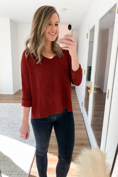 The Dominique Sweater in Wine