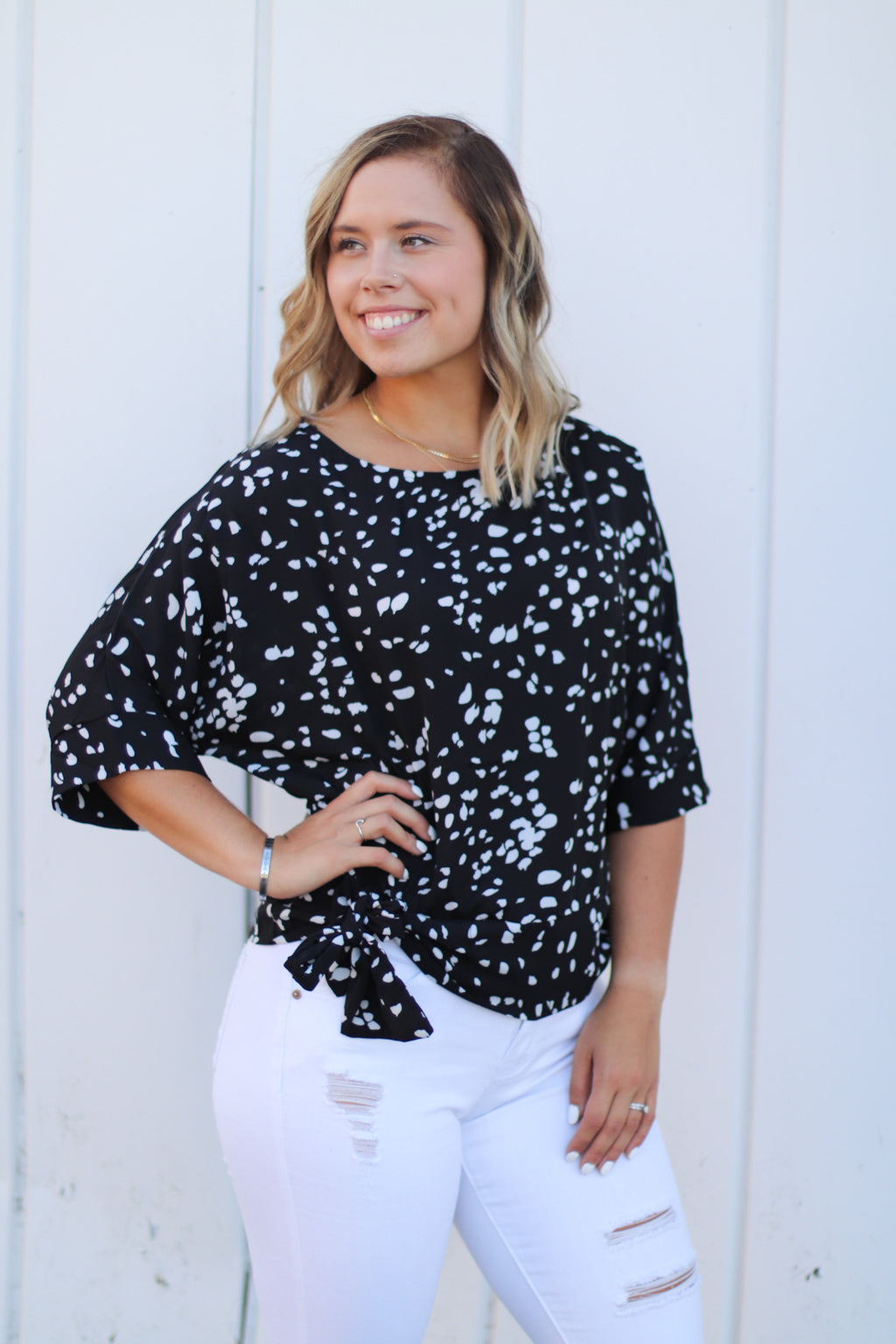 The Farrah Side Tie Blouse