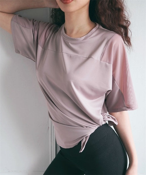 Women Mesh Quick Dry Sport Top Loose Fitness Shirts Short Sleeve