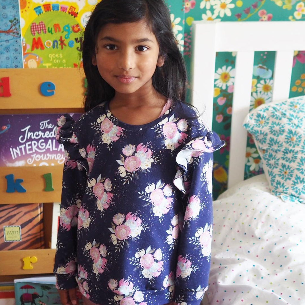 SEWING FOR KIDS : Floral French Terry Jasmin Sweatshirt