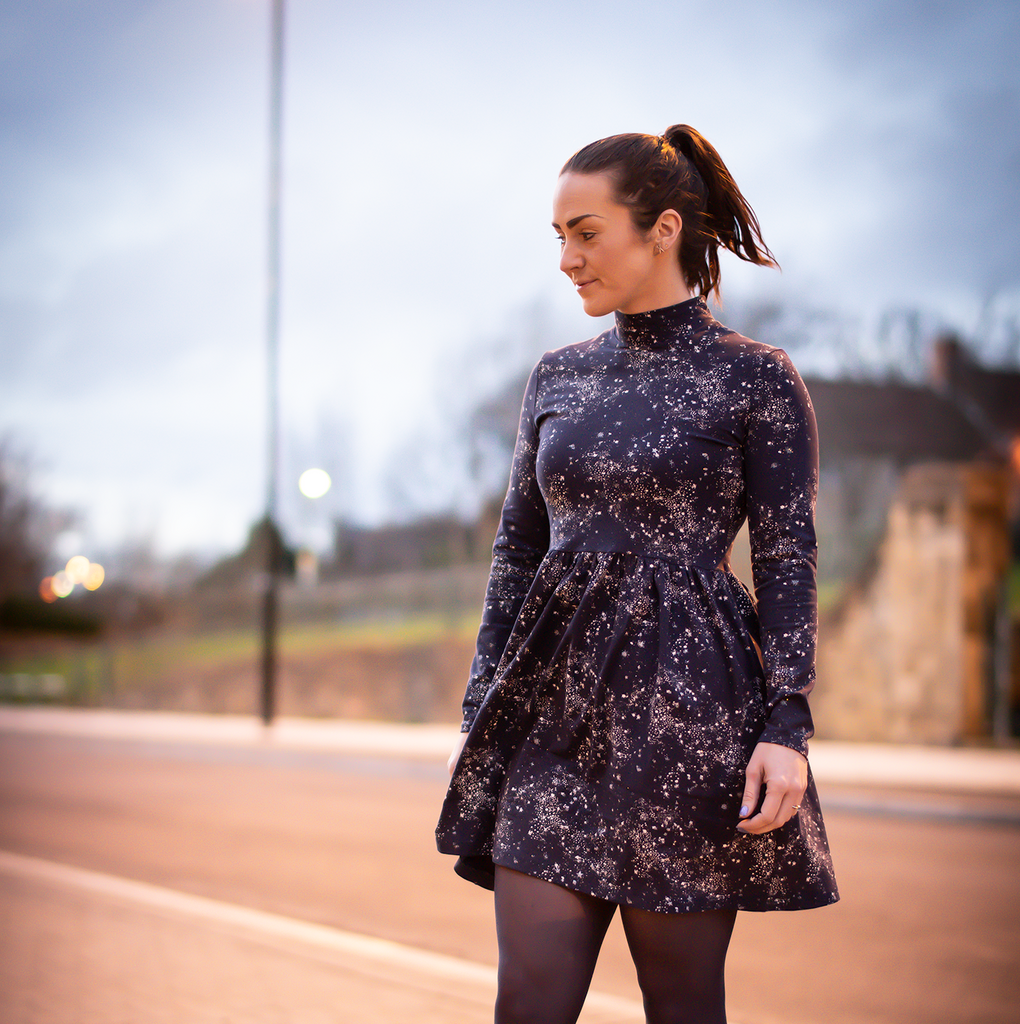 YOU CAN HACK IT: Metallic Freya Dress with Gathered Skirt