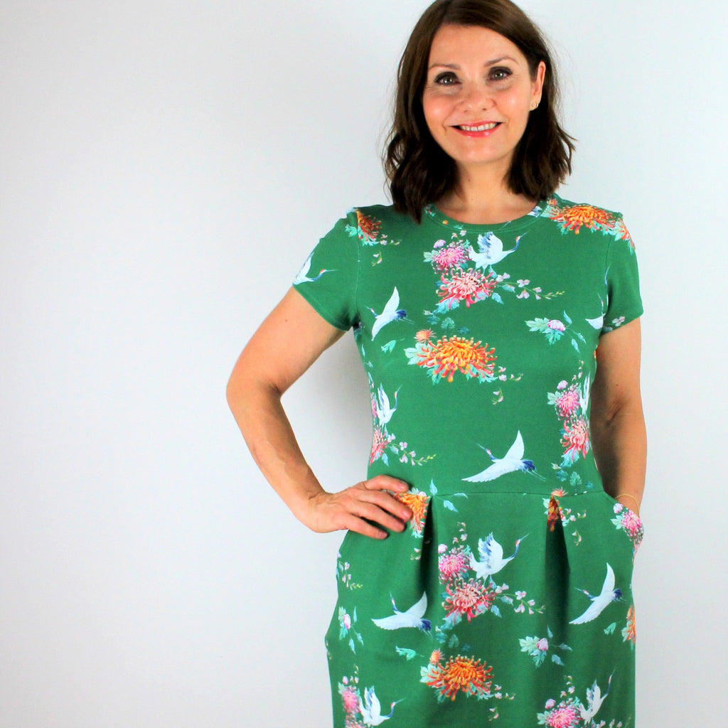 PIN & SEW MAKES : Green Cranes French Terry Chloe Dress