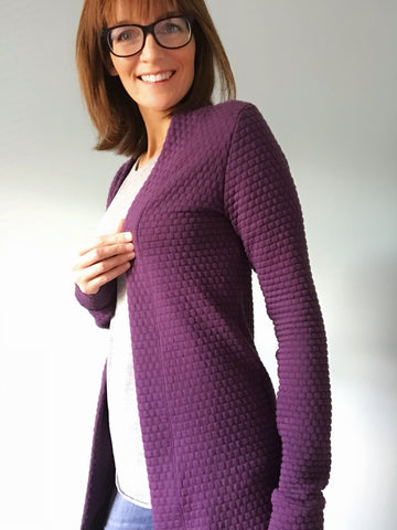 blackwood cardigan purple quilted knit