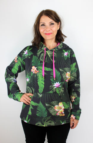 stella hoodie by tilly and the buttons in jungle flowers sweatshirt