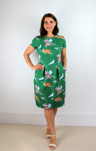 green crane french terry dress