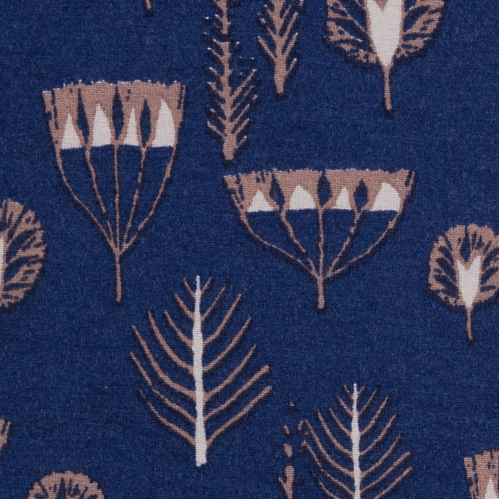 Botanical Autumn Viscose Jersey - Navy - 78 CM END OF BOLT