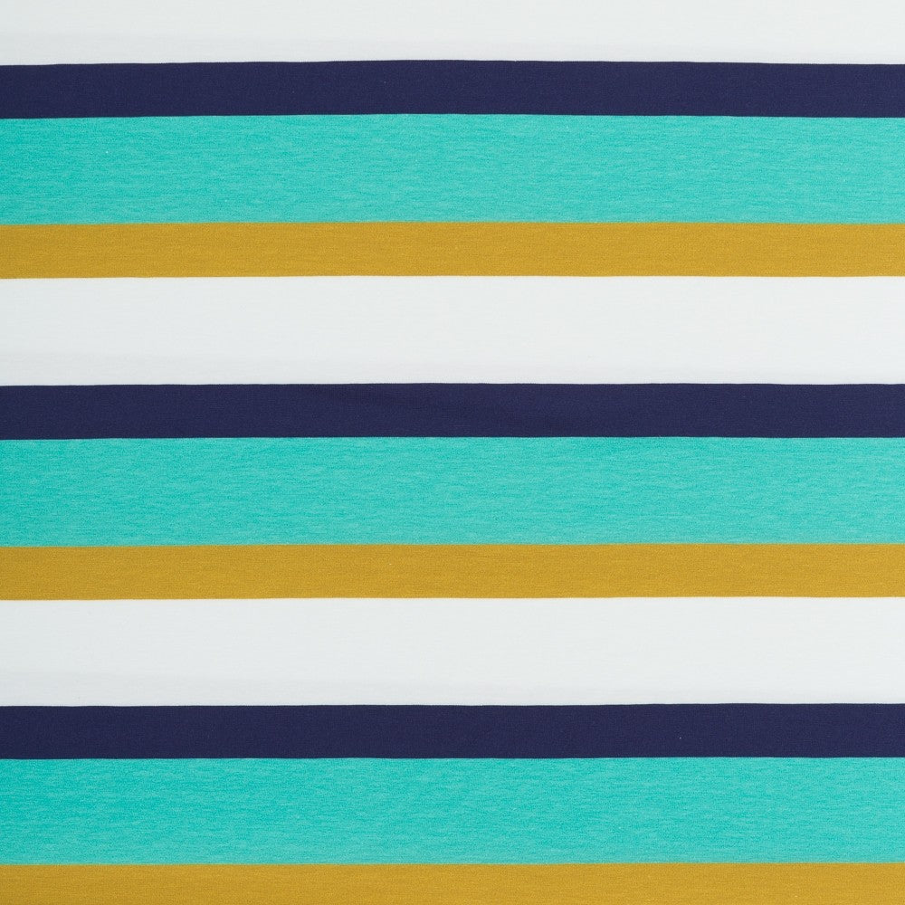 Wide Stripe Cotton Jersey - Jewel Turquoise and Ochre