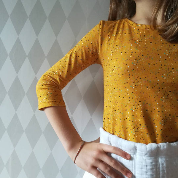 spots and dots ochre cotton jersey fabric