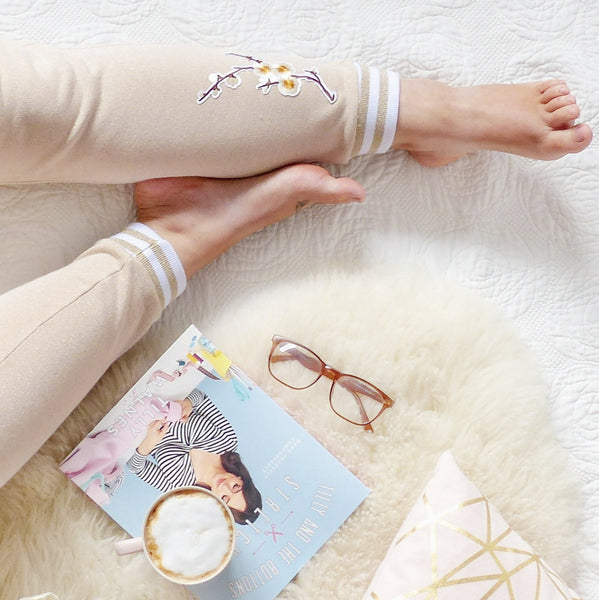 stella joggers in sparkly rose gold sweatshirt