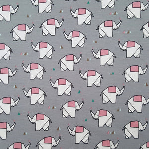 origami elephants baby print french terry jersey fabric