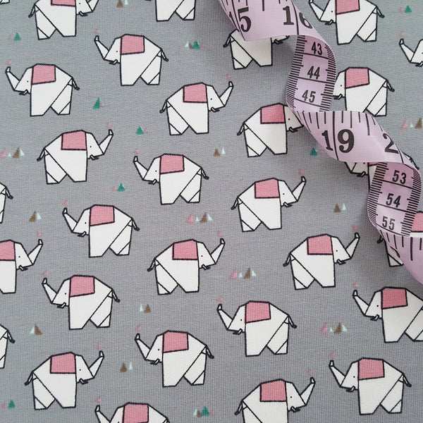 pink and grey elephants loopback jersey french terry knit fabric