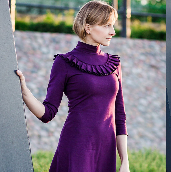 purple jersey stretch knit fabric freya dress tilly and the buttons