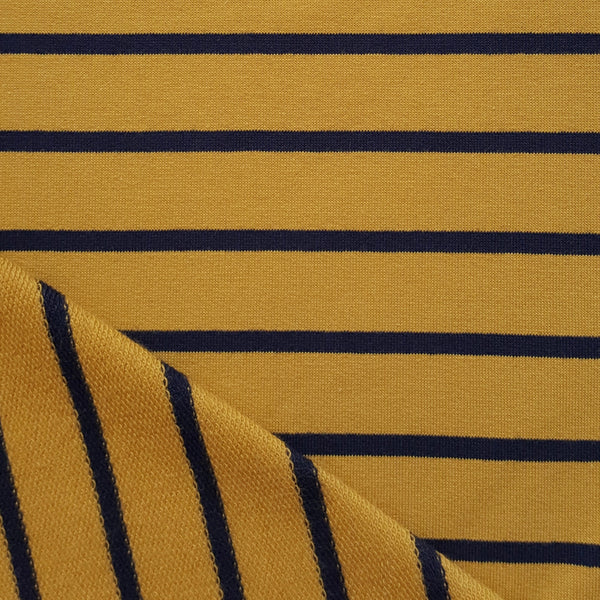 ochre and navy stripes jersey french terry fabric