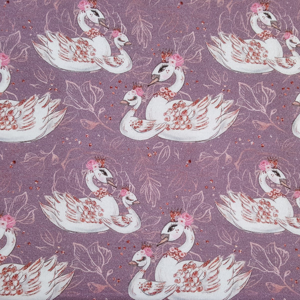 Purple Swans Cotton Jersey