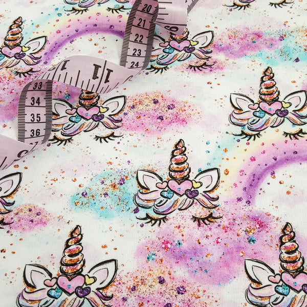 sleepy unicorns colourful children's jersey fabric