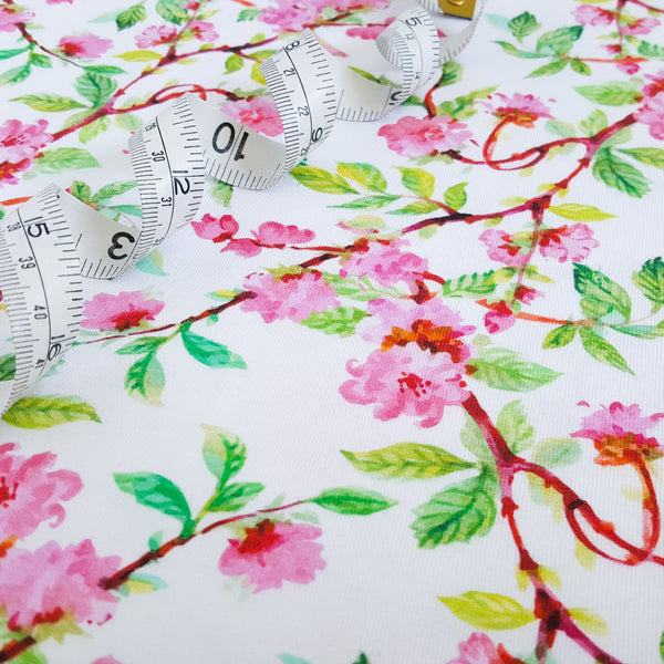 spring blossom floral stretch jersey knit fabric