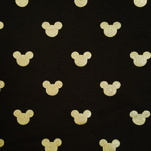 metallic gold mickey mouse head jersey knit fabric