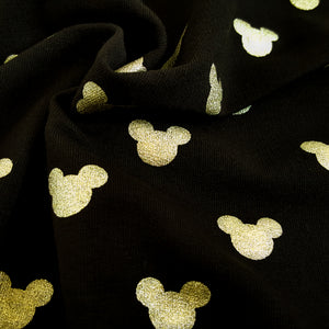 black mickey mouse french terry metallic gold foil print