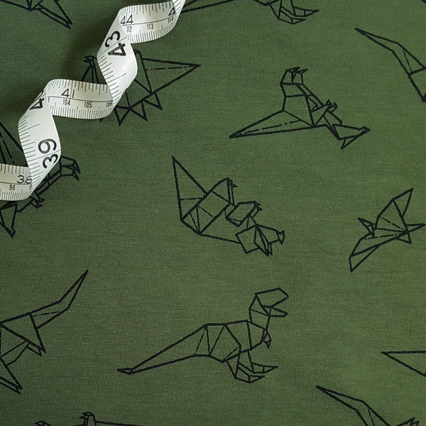 green jersey dinosaurs fabric