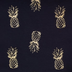 Pineapple fabric , gold and navy jersey knit