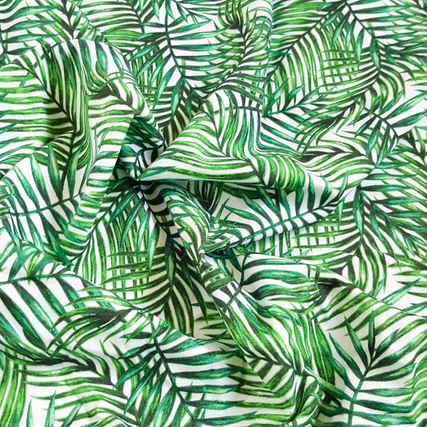 Palm Leaves Cotton Jersey - 67 CM END OF BOLT