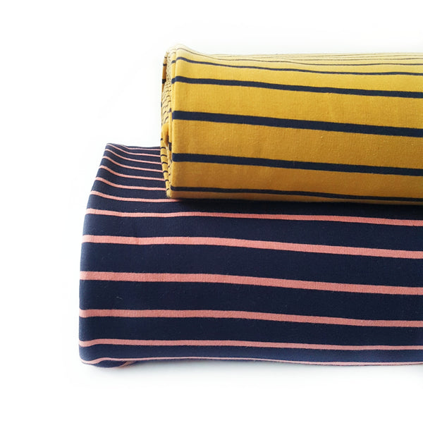 Navy and Peach Stripe French Terry