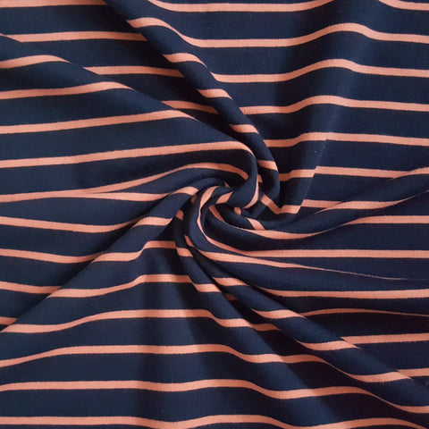 french terry loopback jersey fabric navy and pink stripe