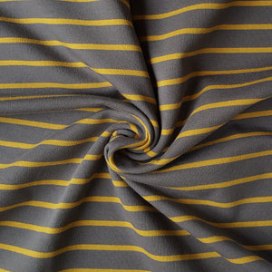 grey and mustard stripe loopback french terry jersey fabric