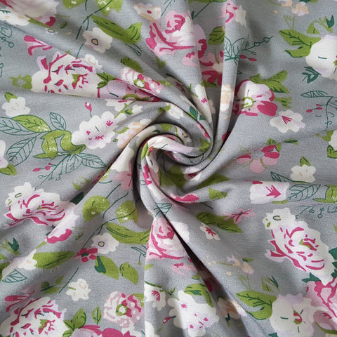 vintage floral viscose jersey fabric