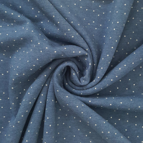 Sparkly Spots Fleece Sweatshirt - Blue Denim - 147 CM END OF BOLT