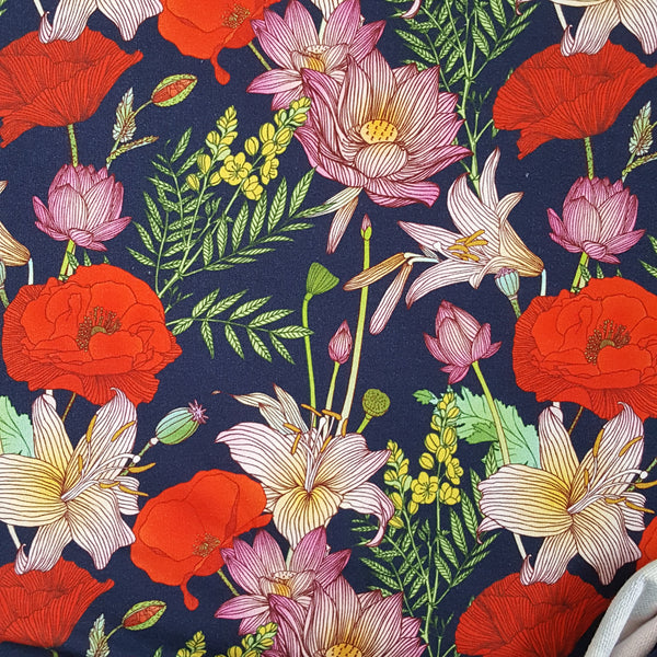 poppies french terry loopback jersey knit fabric