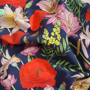 Poppies on Navy French Terry