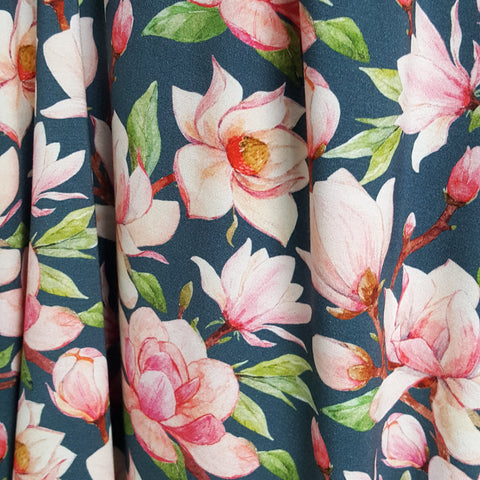 magnolia flower viscose jersey knit fabric