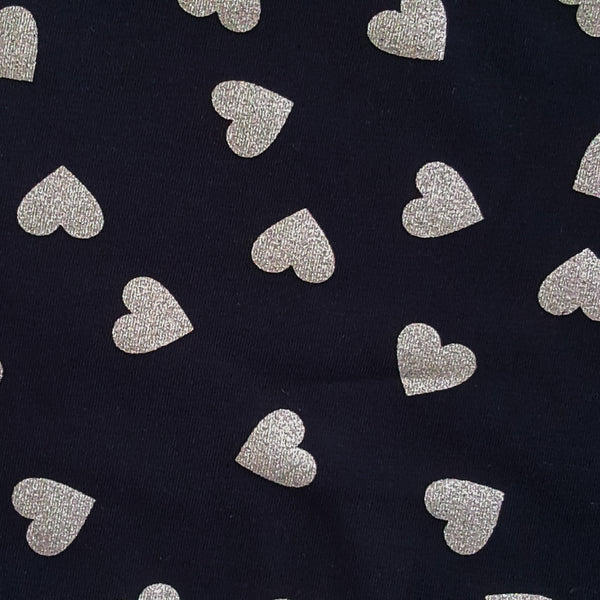 Metallic Silver Hearts Navy Cotton Jersey - 130 CM END OF BOLT