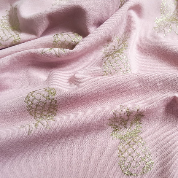Metallic Gold Pineapples Cotton Jersey - Dusky Pink - 110CM END OF BOLT