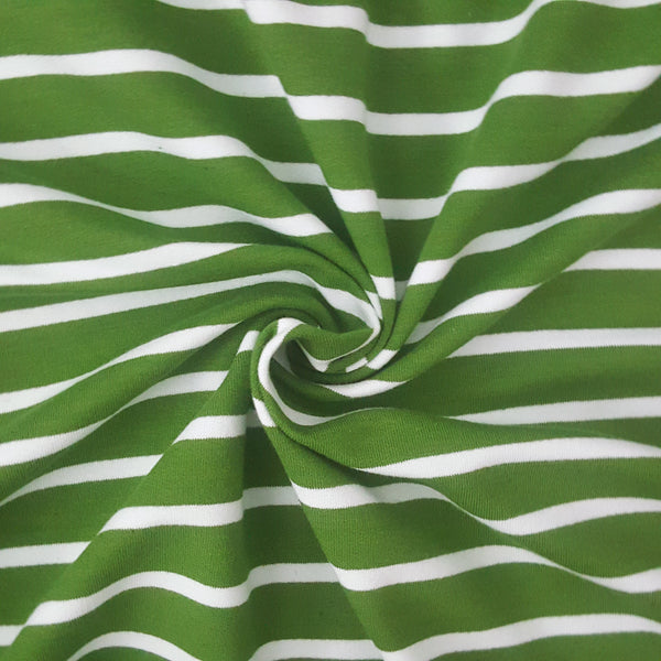 green stripe french terry loopback jersey fabric