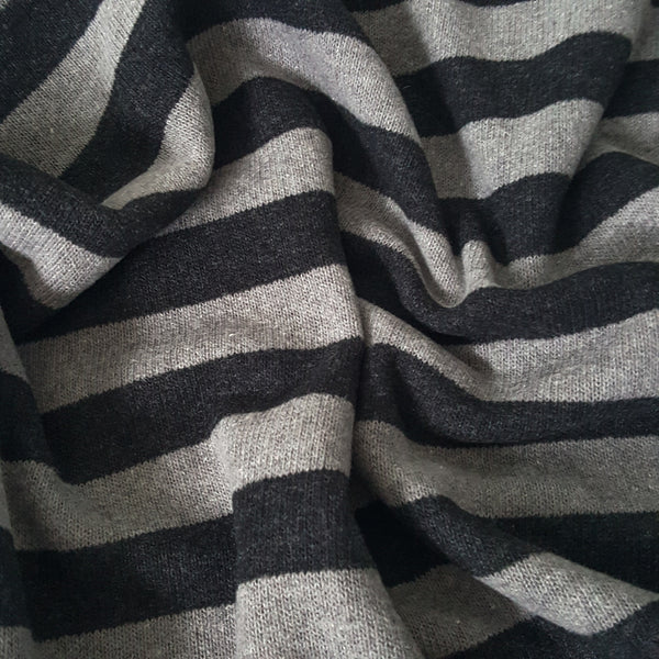Grey and Graphite Stripe Sweater Knit