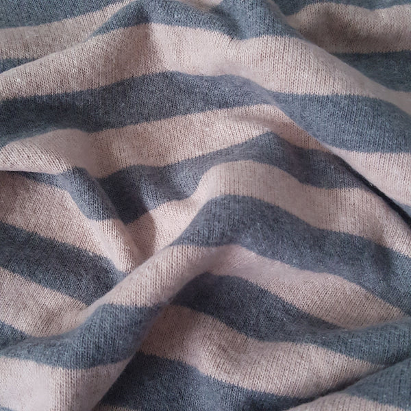 Dusky Pink and Grey Stripe Sweater Knit