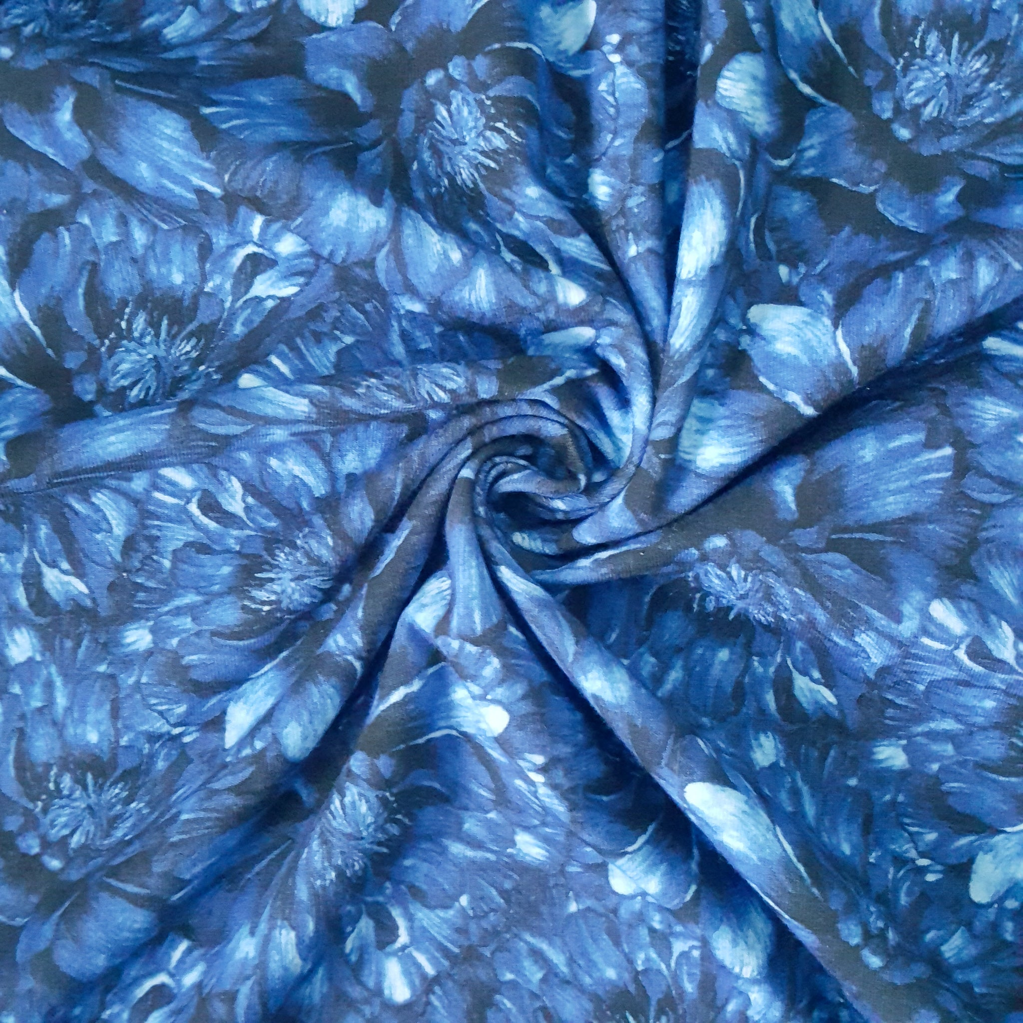 blue peonies jersey knit fabric
