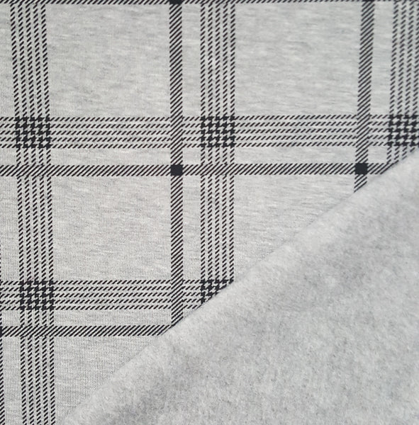 Grey Plaid Heavy Fleece Sweatshirt