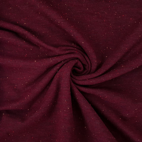 burgundy speckled fleece sweatshirt fabric