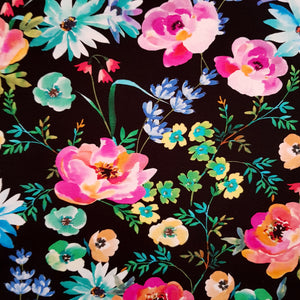 watercolour flowers on black jersey knit fabric