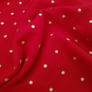 Gold Glitter Stars Fleece Sweatshirt - Red