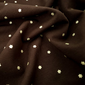 Gold Glitter Stars French Terry - Chocolate